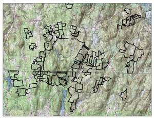 A GIS generated map depicting Norcross ownerships and landscape level topography